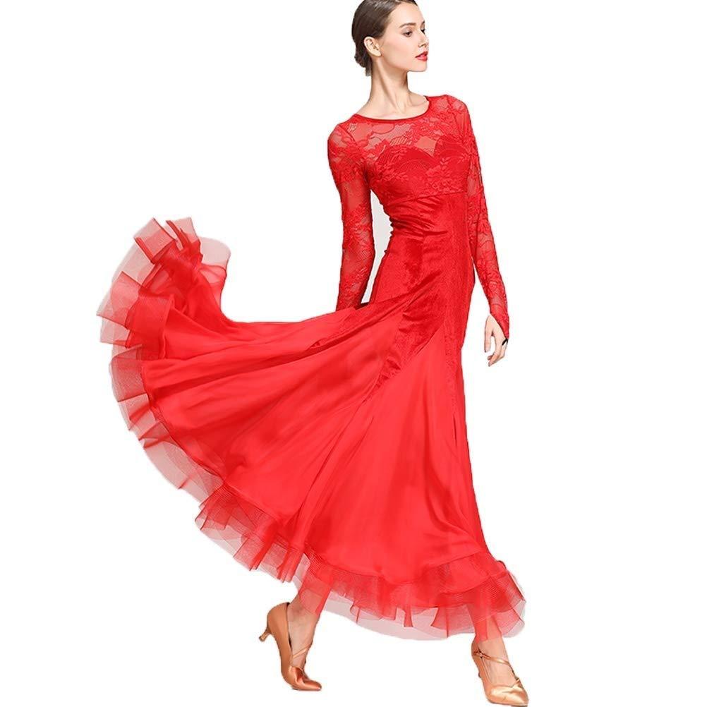 【国内在庫】 女性のための国家の標準的なウエディングドレス競技衣装ベルベットレースステッチソーシャルドレスタンゴモダン社交チュールスカート M B07QN4NJZR B07QN4NJZR レッド M|レッド レッド M, 彫姫工房:28d92f8a --- a0267596.xsph.ru