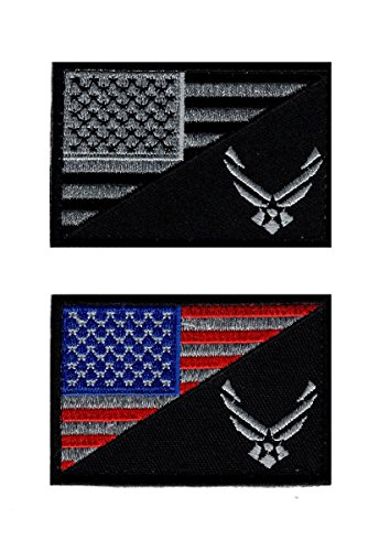 USAF USA Flag USA Air force Logo Acu Embroidered Hook Patch (BUNDLE) (Air Force Patch)