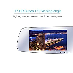 """SmarTure (2nd Generation M511) 1296P Ultra HD Dual Wide Angle Camera 5"""" IPS Screen Rearview Mirror Dashcam with HDR, Parking Assistance System,Parking Protection Mode (without SD card)"""