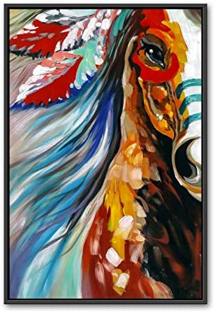 Hand Painted Oil Painting On Canvas,Colorful Galloping Horse Animal Pattern Design Nordic Paintings Pictures Art Wall Poster Abstract Modern For Home Corridor Living Room Bedroom Decor 48X60Inch No