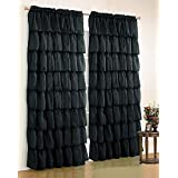 """Fancy Collection 1 Panel Curtain (55""""x 84"""") Gypsy Ruffled Crushed Sheer Black Curtain New"""