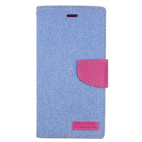 iPhone 6 Plus/6s Plus Case, Insten Stand Folio Flip Leather [Card Slot] Wallet Flap Pouch Case Cover for Apple iPhone 6 Plus/6s Plus, Light Blue/Pink