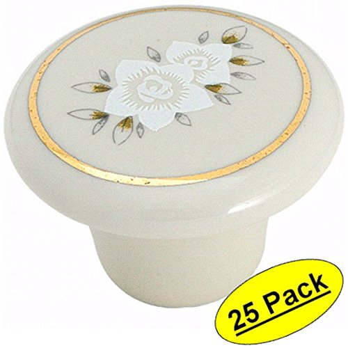 Floral Design Cabinet - Amerock 69128 Almond Ceramic with Floral Design Allison Value Oversized Cabinet Hardware Knob, 1-1/2