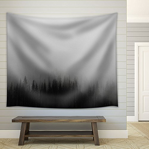 Black Pine Tree Forest Among The Fog Mistery Concept Fabric Wall