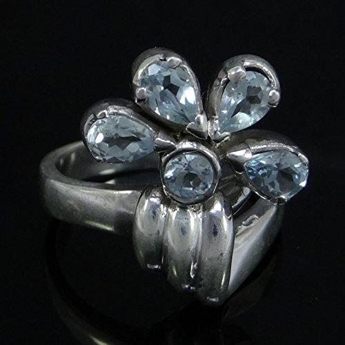 Banithani 925 Argent Sterling Topazgenstone Bleu Mode Anneau Cadeau De Bijoux De Bande Pour Les Femmes