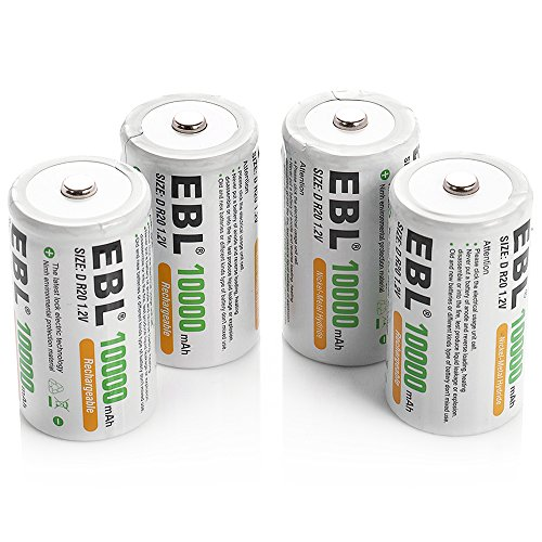 - EBL D Size Battery D Cell 10000mAh Huge Capacity Ni-MH Rechargeable D Batteries with Storage Box, 4 Counts