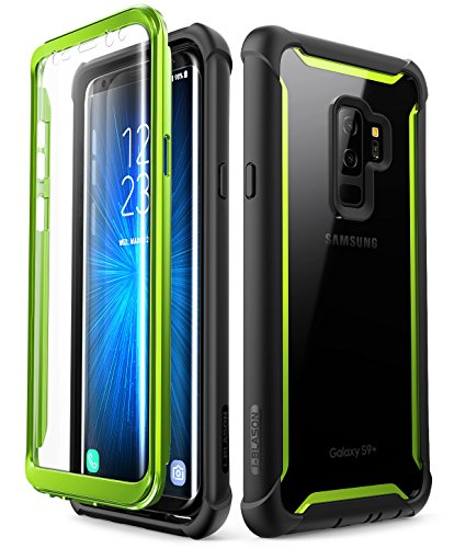 Samsung Galaxy S9+ Plus case, i-Blason [Ares] Full-Body Rugged Clear Bumper Case with Built-in Screen Protector for Samsung Galaxy S9+ Plus 2018 Release (Green)