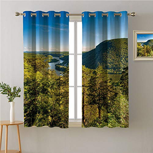 Appalachian Trail Grommet Curtain for Living Room,Mt Minsi View from Top of Mount Tammany with River and Open Sky Photo,Soft Darkening Curtains,63W x 45L ()