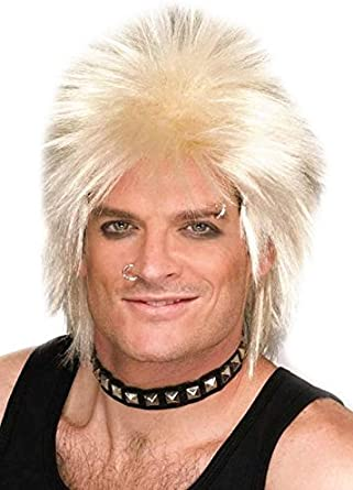 Adult Mens Black Blond Rock Star Wig for 70s 80s Fancy Dress Party Accessory