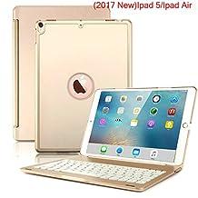 Nuevo iPad 2017Funda Teclado, 7colores LED retroiluminada Bluetooth iPad teclado Funda para iPad 5a generación y ipad Air, Dorado