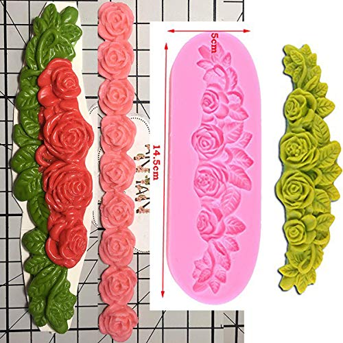 Anyana long rose garland bead line flower vine silicone border mould cake Fondant gum paste mold for Sugar paste wedding party cupcake decorating topper decoration sugarcraft decor set of 2
