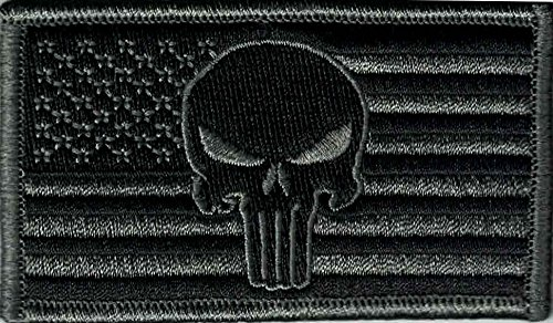 - Punisher Tactical Patch with American Flag 3-1/4 inch x 1-13/16 inch, ACU Active Combat Uniform