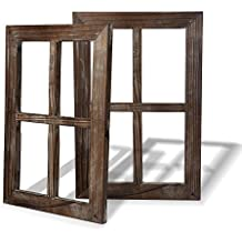 Cade Rustic Wall Decor Window Barnwood Frames -Decoration for Home or Outdoor, Not for Pictures (2, 11X15.8 inch)