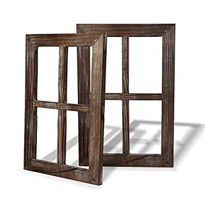 """Cade Old Rustic Window Barnwood Frames -Decoration for Home or Outdoor, Not for Pictures - 100% Upcycled Reclaimed Wood, Individually Hand Crafted Outside Dimensions measure 15.8""""x 11""""x 1"""" and Slot Dimensions measure 3.5""""x 6.3""""x 1"""" Hanger Back Included for Wall Mounting also this product may have splinters and random nail holes - living-room-decor, living-room, home-decor - 51kb9zqFeyL. SS400  -"""