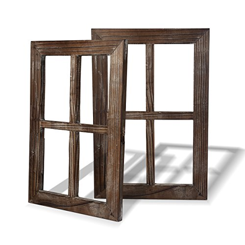 Cade Rustic Wall Decor Window Barnwood Frames -Decoration for Home or Outdoor, Not for Pictures (2, 11X15.8 inch) (Decor)