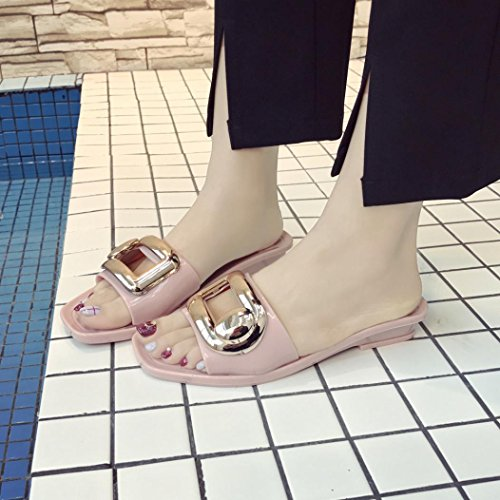 Byste Summer Non-Slip Safe Comfortable Square Buckle Slippers Flip-Flops Beach Elastic Flat Sandals Waterproof Bath Shower Anti Slip Slope Indoor Outdoor Women Platform Shoes Pink VX0sFf