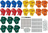 22 Assorted Deluxe Rock Climbing Holds for Kids - Outdoor Climbing Stones Kit with 44 Swing Safe Fasteners + Drill Bit Easy to Install on Lumber from 3/4'' to 1.25'' Thick,  by Pro-Hold