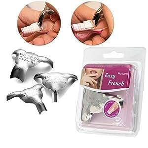 Makartt® molde de 3 piezas para las uñas francés modelo Metal para el Manicure plantilla