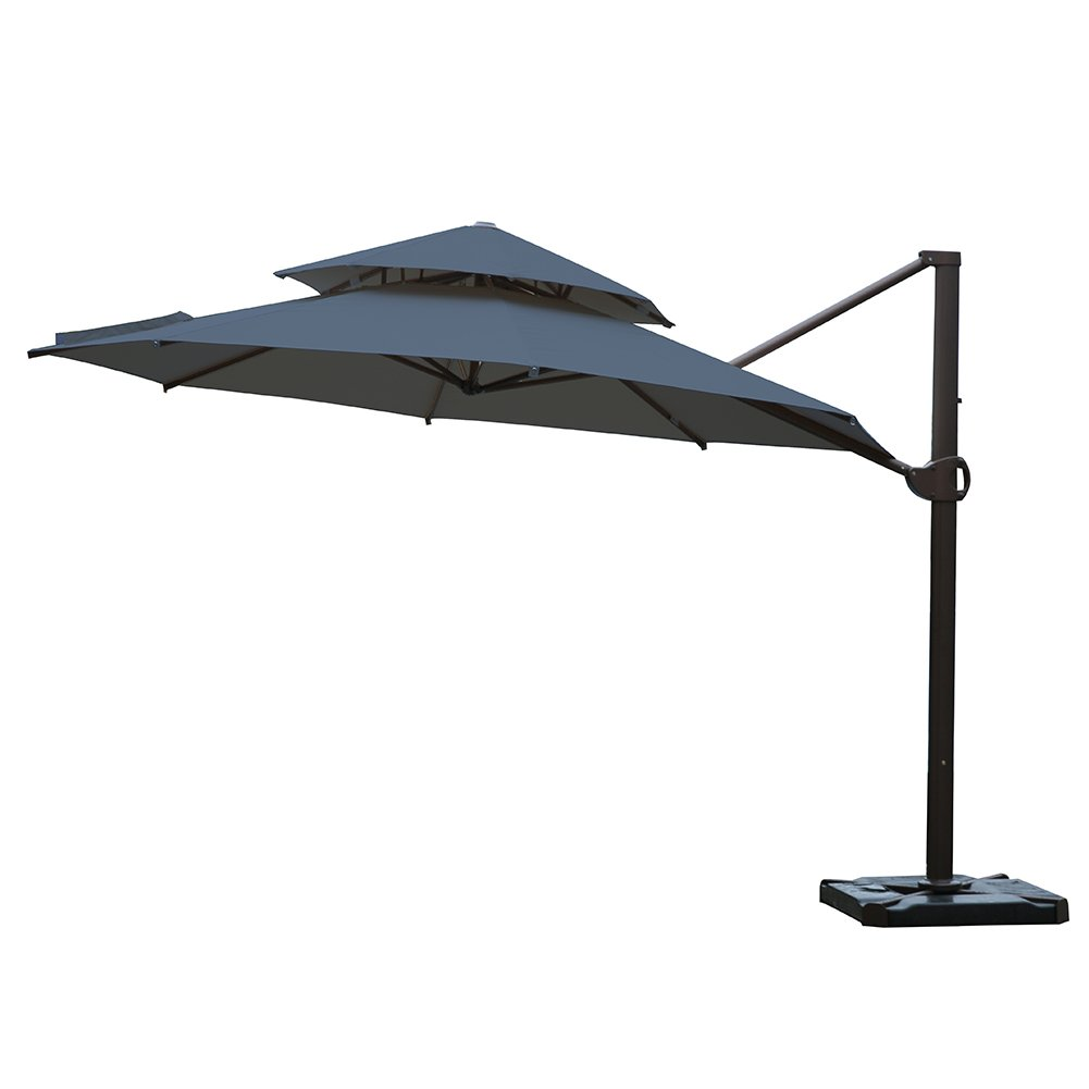 Cantilever Hanging Umbrella Sun Shading | Black | Ø11.5' ft | Round | SORARA - ROMA w/ DUAL VENT | Polyester 240 g/m² (UV 50+)| Crank Mechanism | Incl. Cover & Cross Base & 4 Tiles for Weight