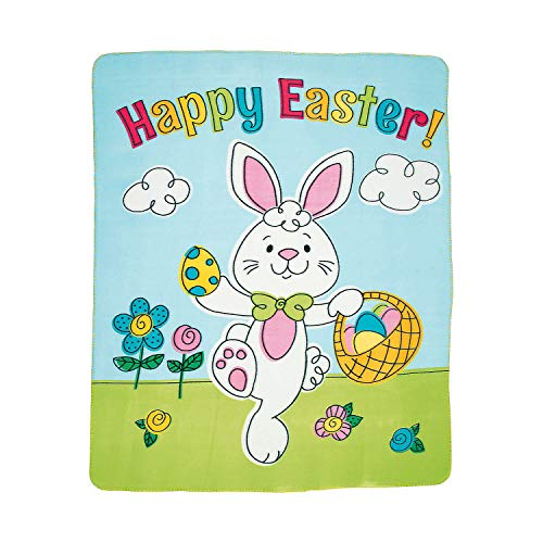 Bunny w/ Basket of Eggs Easter Throw Blanket 50