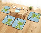 Egg Carton Sleeping Pad Leighhome Chair Cushions Sleeping Prince Frog in A Cap Polka Dots Background Cute Animal World Kids Non Slip Comfortable W25.5 x L25.5/4PCS Set