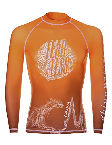 Surf Rash Guard Men , DIVE & SAIL Long Sleeve UV Shirt UPF 50 Protection Fast Dry Swimsuit for Watersports Tangerine XL