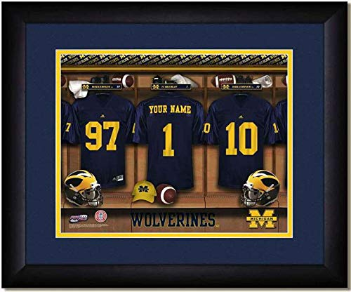 Michigan State Wolverines University Football Team Locker Room Personalized Jersey Officially Licensed NCAA Sports Photo 11 x 14 Print