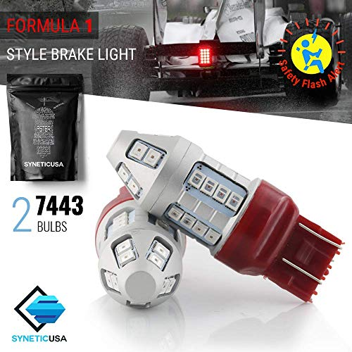 Red Flashing Strobe Blinking Rear Alert Safety Brake Tail Stop High Power LED Light Bulbs (7443) (Odyssey Honda Lights Back 2006)