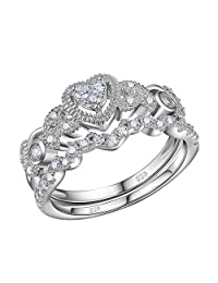 Newshe 0.5ct Heart White Cz 925 Sterling Silver Wedding Engagement Ring Set Size 5-10
