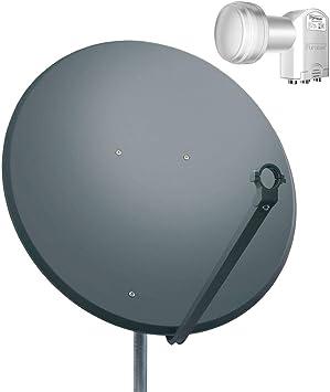 PremiumX - Antena parabólica (Compatible con HDTV 3D, con LNB Quad de 0,1 dB), Color Negro