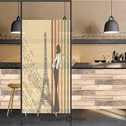 3D Decorative Privacy Window Films,Grunge Background Classical Glamor Woman with Cigarette Fashion Pattern Retro Art,No-Glue Self Static Cling Glass film for Home Bedroom Bathroom Kitchen Office 17.5x