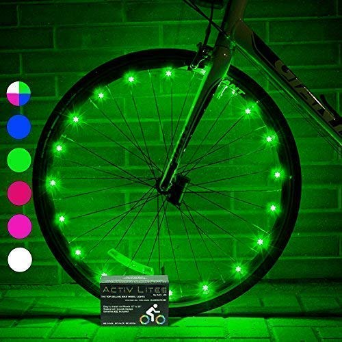 Activ Life Wheel Lights (2 Tires, Green) Fun Bicycle Spoke Wire & Bike Frame Safety String Lights - Best Wheelchair & Top Baby Stroller Accessory for Men Women Children Boyfriend ()