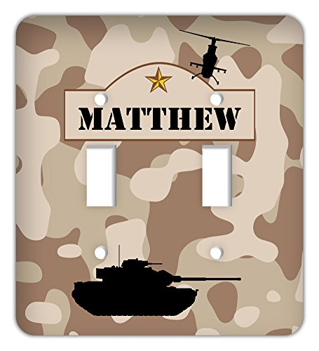 Personalized Military Camouflage Double Switch Plate Cover, Desert Brown