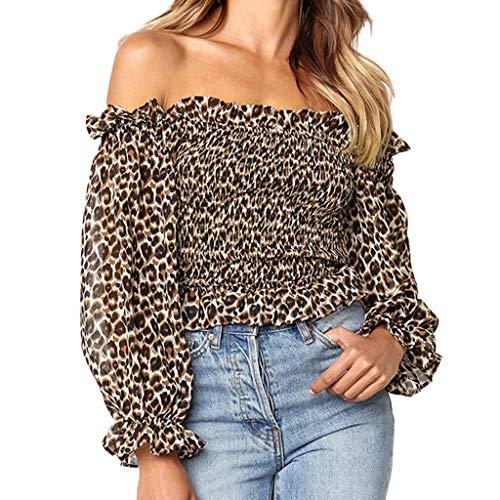 kaifongfu Women's Fashion Sexy Comfy Leopard Print Off Shoulder Long Sleeve Loose Tank Top T-Shirt -