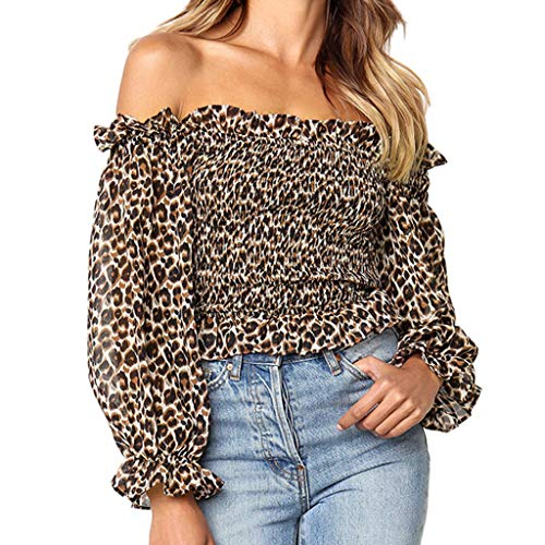 Tie Packers Bay Striped Green - Leopard Print Shirt for Women Chaofanjiancai Ladies Slash Neck Flare Sleeve Off Shoulder Blouse Top Khaki