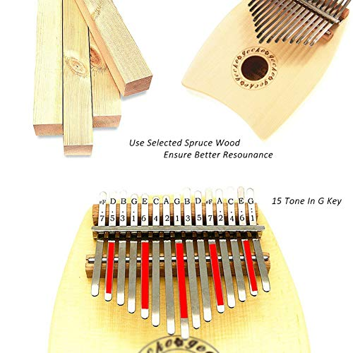 MG.QING 15-Key Kalimba Spruce G-Tone Acoustic Thumb Piano Finger Instrument Gift by MG.QING (Image #1)