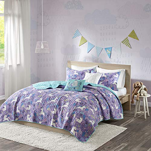 Urban Habitat Kids Lola Full/Queen Bedding for Girls Quilt Set - Purple, Aqua, Unicorns - 5 Piece Kids Girls Quilts - 100% Cotton Quilt Sets Coverlet