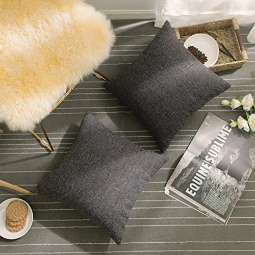 Home Brilliant Square Pillowcases Linen Chenille Blend Christmas Home Decor Cushion Covers Dark Gray Pillow Cases for Sofa, 2 Packs, 18 by 18 inches(45x45 cm), Charcoal