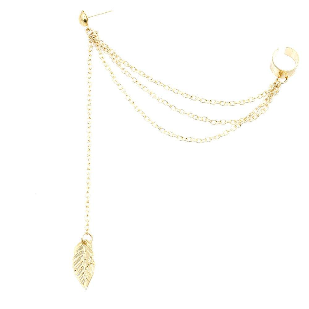 Muranba 1 Pair Leaf Tassel Earrings Gift for Women Girl (Gold)