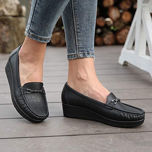 Mocassins Noir2 Convient Chaussures Mode Attaches Avec Confortable Saisons À Cuir Les Platform Talon En Noir Pour Compensee Des Femme Métal La Toutes 1qxEwAa