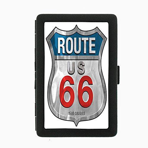 Route 66 D4 Black Metal Cigarette Case Historic Famous U.S. Roads Will Rogers Highway Travel
