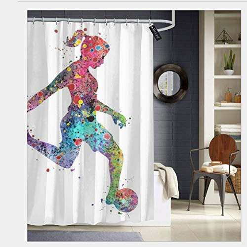Puloa Girl Soccer Player Watercolor Print Sports Print Shower Curtains with 12 Hooks,Durable Bathroom Curtain 72