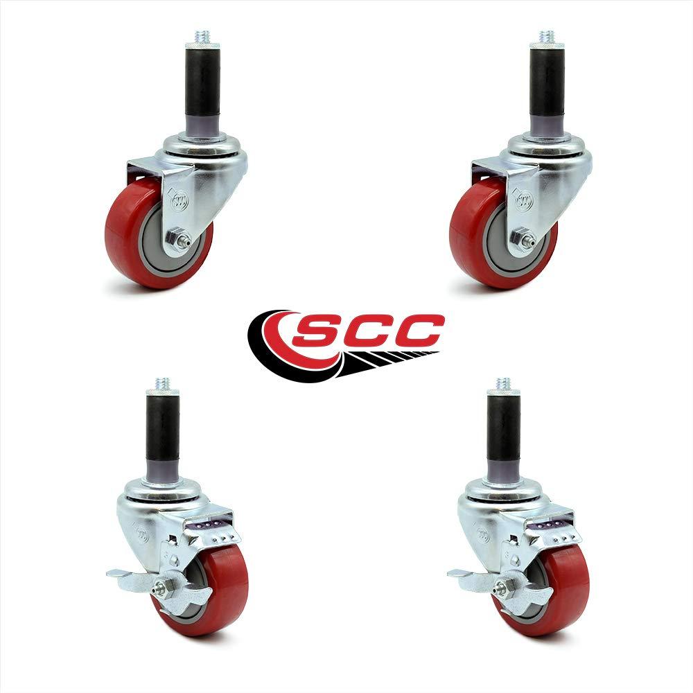 300 lbs Capacity//Caster Blue Polyurethane Swivel Threaded Stem Caster w//4 x 1.25 Wheel and 3//8 Stem /& Total Locking Brake Service Caster Brand