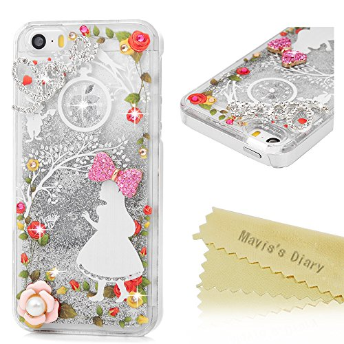 Mavis's Diary iPhone SE Case,iPhone 5S Case,iPhone 5 Case 3D Handmade Bling Flowing Liquid Silver Stars Design Flowers Girl Pattern with Shiny Diamonds Cute Pink Bow Clear Case Hard PC (Alice Teen Costume)