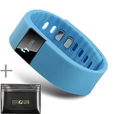 EFOSHM Smart Watch and Card Case ,Wireless Activity and Sleep Monitor Pedometer Smart Fitness Tracker Wristband Watch Bracelet for Men Women Boys Girls Ladies Man iPhone Sumsung HTC