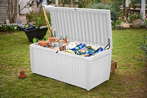 Deck Boxes Keter Sumatra 135 Gallon Resin Rattan Look Outdoor Deck Box for Patio Furniture Cushions, Garden Tools, Toys, and Pool… outdoor deck boxes