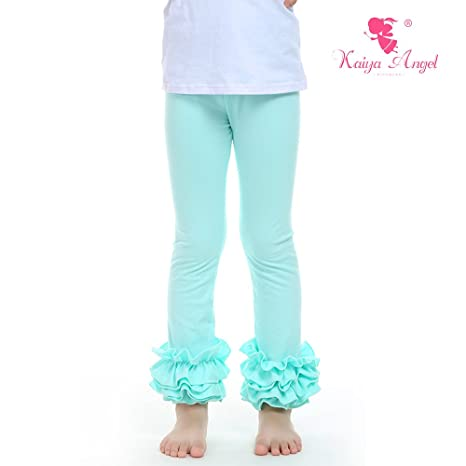 Kaiya Angel Girl Ruffle Leggings Baby Ruffle Pants Solid Color Cotton For Winter 2-9 Year (aqua) (90)