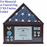 Military Memorial Shadow Box, Burial/Funeral Flag Display Case for 5' X 9.5' Flag (Mahogany) FC07-MA