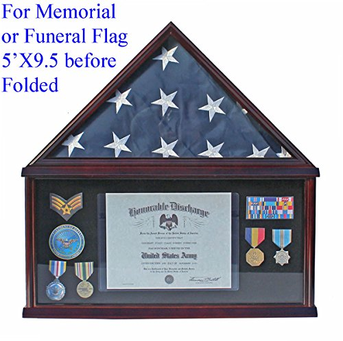 Military Memorial Shadow Box, Burial/Funeral Flag Display Case for 5' X 9.5' Flag (Mahogany) - American Flag Frames