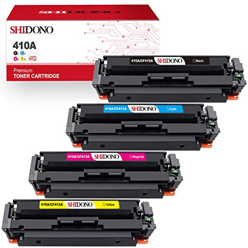 Shidono Compatible Toner Cartridge Replacement for HP 410A 410X Fits with Color Laserjet Pro MFP M477fdw/M377dw/M452dw /M477fdn/M477fnw/M452dn/M452nw Printer,[4-Pack, Black/Cyan/Yellow/Magenta]